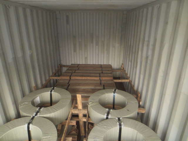stainless steel coil loading with sheets, combined container